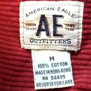 American Eagle Outfitters Shirts - AEO Red Corduroy Front Button Shirt M Mens